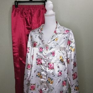 Kathryn Red & Ivory Satin Pajamas with Floral Top